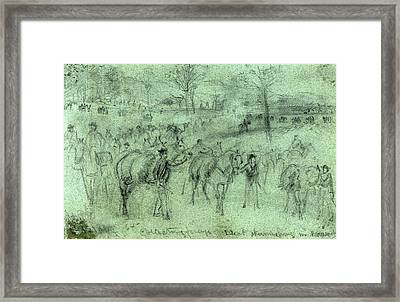 Collecting Forage. Escort Skirmishing N. Harrison Framed Print