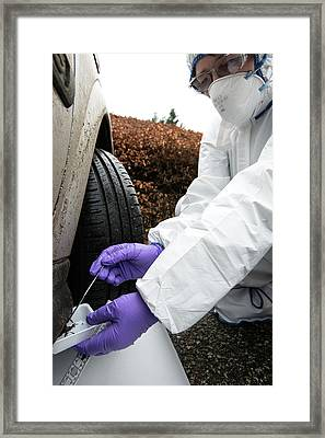 Collecting Forensic Evidence Framed Print