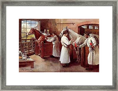 Collecting Horse Blood Framed Print by National Library Of Medicine