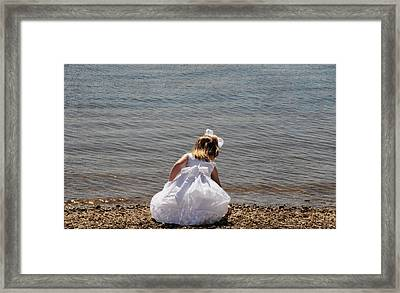 Collecting Shells Framed Print by Linda Segerson