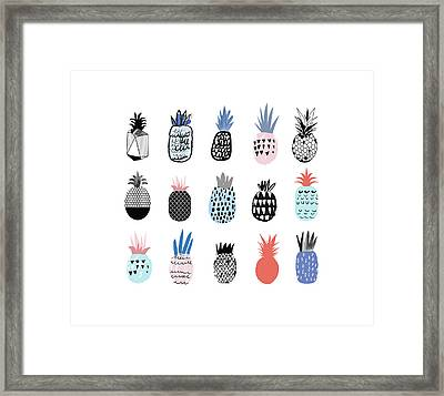 Collection Of Cute Pineapples With Framed Print by Loliputa
