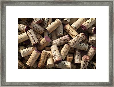 Collection Of Fine Wine Corks Framed Print by Adam Romanowicz