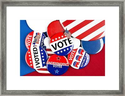 Collection Of Vote Badges Framed Print