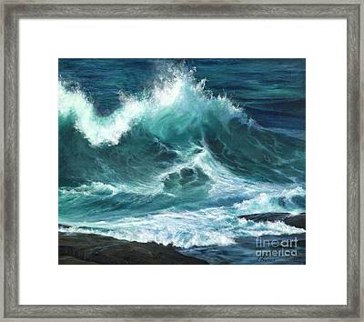 Colliding Tides Framed Print by Jeanette French