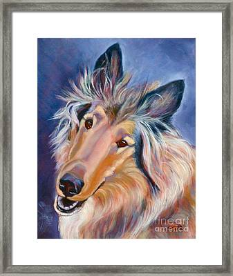 Collie Caper Framed Print