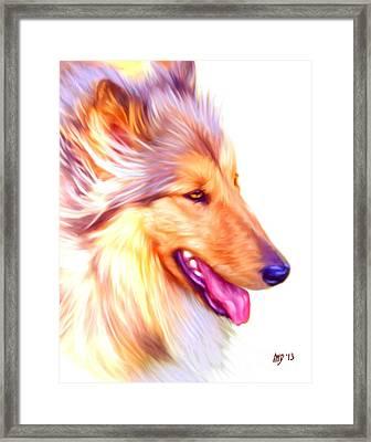 Collie Digital Dog Art Framed Print