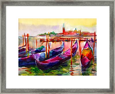 Coloful Venice Boats Painting Framed Print by Svetlana Novikova