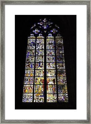 Cologne Cathedral Stained Glass Window Of St Peter And Tree Of Jesse Framed Print
