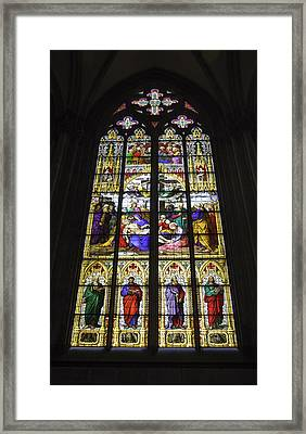 Cologne Cathedral Stained Glass Window Of The Lamentation Framed Print by Teresa Mucha