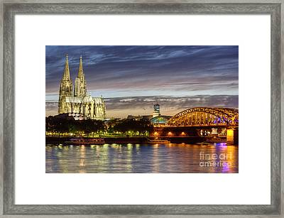 Cologne Cathedral With Rhine Riverside Framed Print by Heiko Koehrer-Wagner