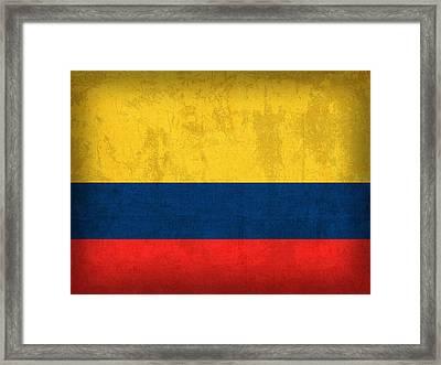 Colombia Flag Vintage Distressed Finish Framed Print