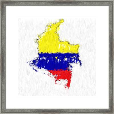 Colombia Painted Flag Map Framed Print by Antony McAulay