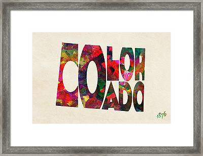 Colorado Typographic Watercolor Map Framed Print by Ayse Deniz