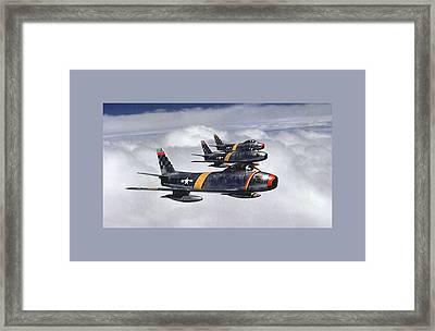 Colonel Ben O Davis Leads Flight F 86 Sabres Over Korea Medium Border Framed Print by L Brown