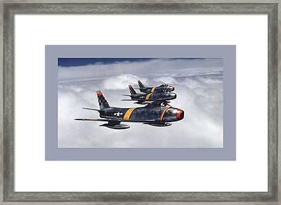 Colonel Ben O. Davis Leads Flight F 86 Sabres Over Korea Small Border  Framed Print by L Brown