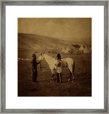 Colonel Clarke, Scots Greys, With The Horse Wounded Framed Print