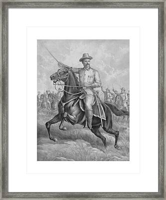 Colonel Roosevelt Leading Troops Framed Print by War Is Hell Store
