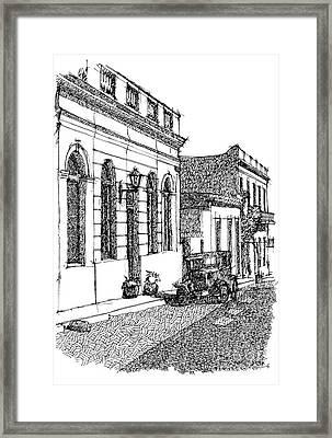 Colonia Uruguay City Sketch Framed Print by Pablo Franchi