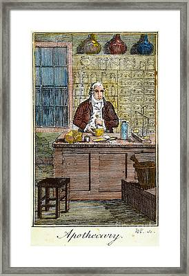 Colonial Apothecary, 18th C Framed Print by Granger