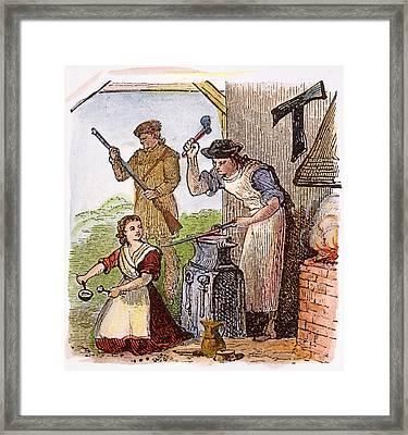 Colonial Blacksmith, 18th C Framed Print by Granger