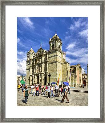 Colonial Cathedral In Oaxaca Framed Print