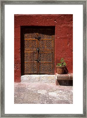 Colonial Door And Geranium Framed Print