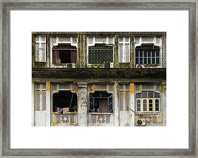 Colonial Facade Bo Soon Pat Street 8th Ward Central Yangon Burma Framed Print