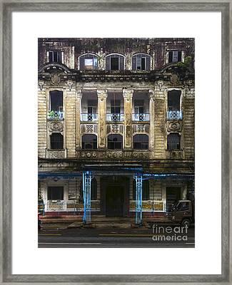 Framed Print featuring the photograph Colonial Facade Merchant Street 8th Ward Central Yangon Burma by Ralph A  Ledergerber-Photography