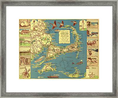 Colonial Map Of Cape Cod Framed Print by Mountain Dreams