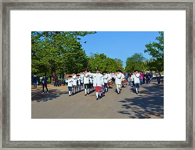 Colonial Marching Band And Soliders Framed Print by Richard Jenkins