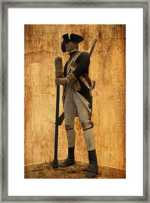 Colonial Soldier Framed Print by Thomas Woolworth