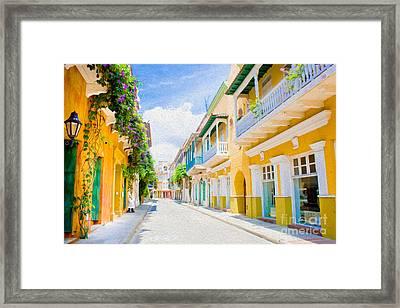 Colonial Street - Cartagena De Indias, Colombia Framed Print