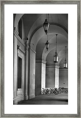 Colonnade And Bicycles Framed Print by Steven Ainsworth