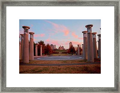 Colonnade In A Park, 95 Bell Carillons Framed Print
