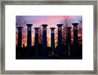Colonnade In A Park At Sunset, 95 Bell Framed Print