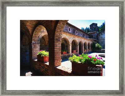 Colonnade Of An Old World Castle In Napa Valley Framed Print
