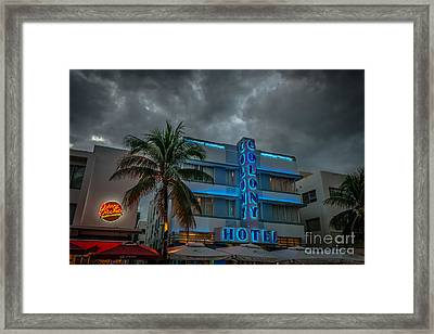 Colony And Johnny Rockets Art Deco District Sobe Miami - Hdr Style Framed Print by Ian Monk