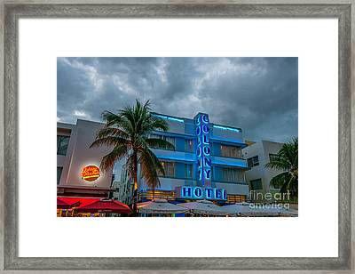 Colony And Johnny Rockets Art Deco District Sobe Miami  Framed Print by Ian Monk