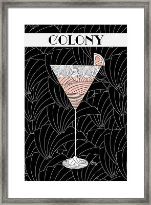 1920s Colony Cocktail Art Deco Swing   Framed Print by Cecely Bloom