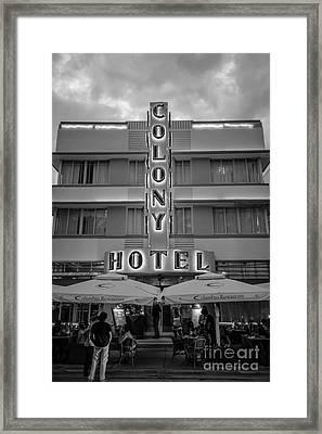 Colony Hotel Art Deco District Sobe Miami Florida - Black And White Framed Print