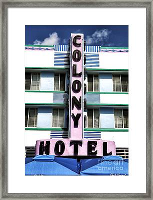 Colony Hotel Framed Print by John Rizzuto