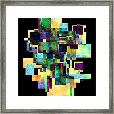 Color Block On Black One Abstract - Art Framed Print by Ann Powell