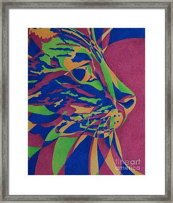 Framed Print featuring the painting Color Cat I by Pamela Clements