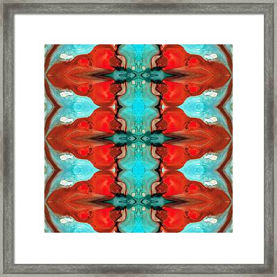 Color Chant - Red And Aqua Pattern Art By Sharon Cummings Framed Print by Sharon Cummings