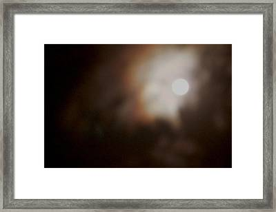 Color In Clouds Passing By The Moon Framed Print by Sandra Pena de Ortiz