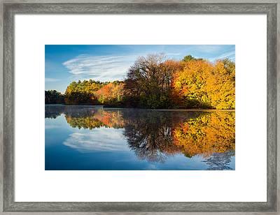 Color On Grist Mill Pond Framed Print