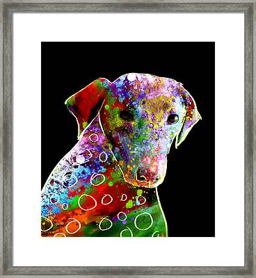 Color Splash Abstract Dog Art  Framed Print by Ann Powell