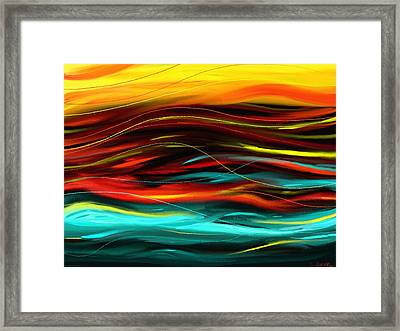 Framed Print featuring the painting Color Waves by Shawna Rowe