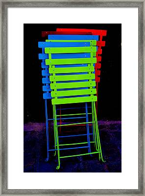 Colorful Cafe Chairs Framed Print