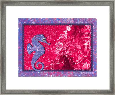 Color Your World Kids Bath Seahorse Framed Print by Margaret Newcomb